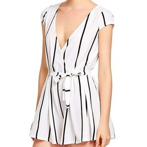 Striped Jumpsuit Romper with Belt